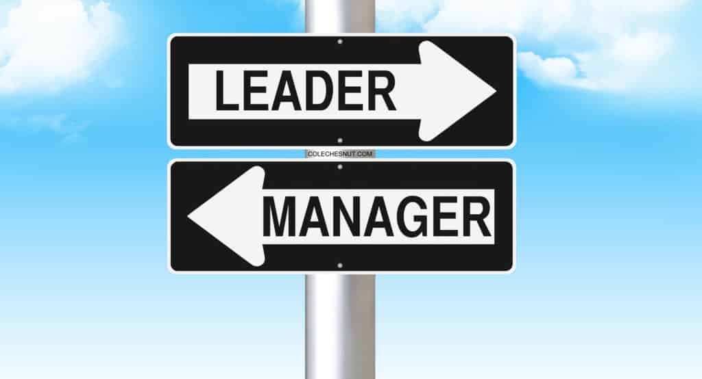 Leader one way, Manager the other way, direction signs.
