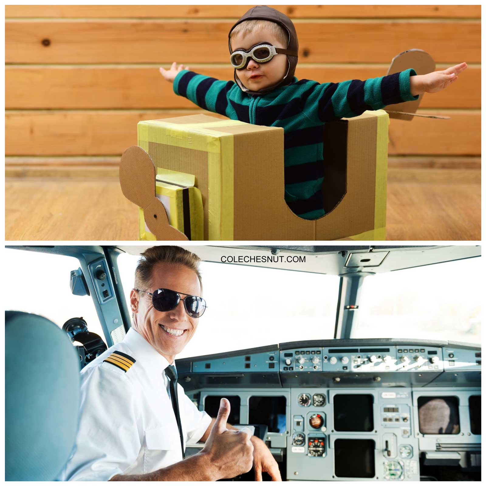 Growing up to be an airplane pilot.